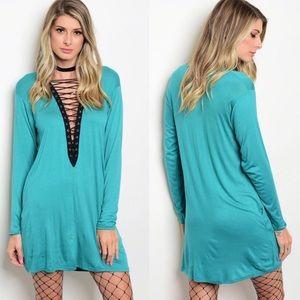 Dresses & Skirts - Aqua Mini Shift Dress w/ Plunging Lace Up Neckline